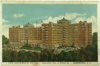 Postcard The Shoreman Hotel Aerial Bird's Eye View Calvert St. Washington DC