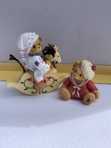 cherished teddies X2 Donna Plus Bear On A Rocking Horse