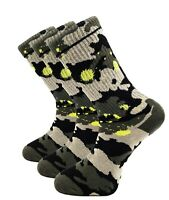 3 Pairs Mens Crew Socks Camouflaged Cushioned Cotton Sport Shoe Size 8-12 Thick