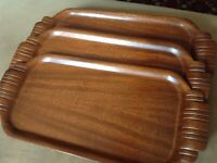 Set Of 3 Toastmaster 1930's Bonded Plywood Hospitality Set Lap Trays Art Deco