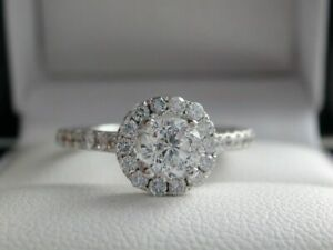 14K White Gold Over 0.78CT Round cut Diamond Floral Engagement Wedding Ring