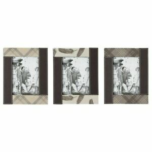 """Set of 3 Elegant Faux Leather Photo Picture Frames Freestanding 5"""" x 7"""" Gift"""