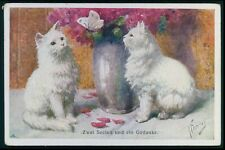 art Feiertag kittens cat with white butterfly original old 1920s postcard