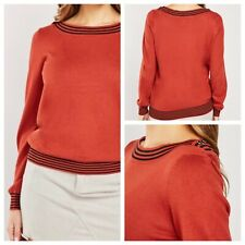 M & Co Ladies Brick Red Jumper Size 22 Long Sleeve Buttons Smart NEW NWOT LJR