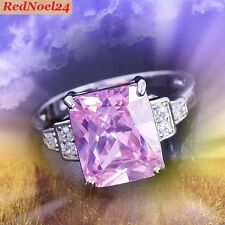 Chic Elegant Band Pink & White Topaz 925 Silver Hallmarked Ring- Size 8.5 - Q