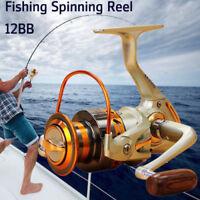 Spinning Spool Fishing Reel EF500-EF9000 12BB Metal Folding Left Right Arm 5.2:1