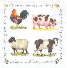 Lot de 4 Serviettes en papier Basse-cour Coq Vache Mouton Cochon Decoupage