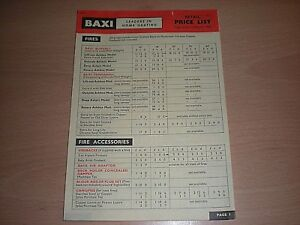 A 4 Paged Baxi Heating Retail Price List - Operative 1st March 1965