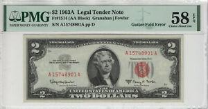 1963 A $2 LEGAL TENDER RED SEAL NOTE GUTTER FOLD ERROR PMG CHOICE AU 58 EPQ(901A