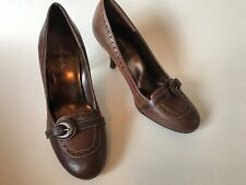 Maripe Woman Shoes Size 6 Heels Pump Brown Leather Round Toes