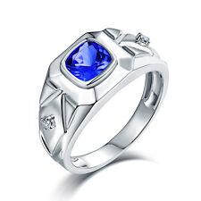 Real 14Kt White Gold Diamond AAAA Tanzanite Engagement Wedding Gemstone Ring