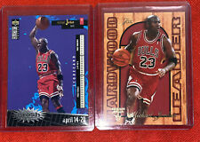95-96 Flair + Upoer Deck Michael Jordan Hardwood Leader Insert Bulls X2