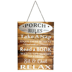 Vintage Style Porch Rules Plaque Wall Proch Decor Indoor Outdoor Home Decoration