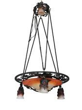 Lustre plafonnier en fer forgé aux raisins Art déco 1930 vasque Schneider