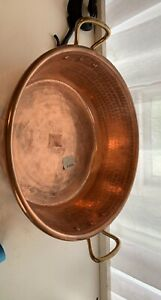"""Antique French Hammered Copper Jam Preserve Pan, 2 Handles, Tinned 10 1/2""""/8"""" D"""