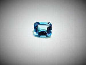 TOPAZ, Swiss Blue, Emerald Facet Cut, 11.9mm x 9.7mm, 6.8 Carats,High Quality