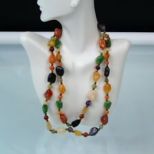 Statement Stone Necklace Vintage Natural Polished Stones Green Brown