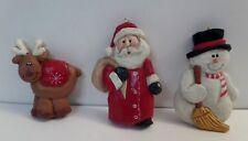 Ornaments Reindeer Santa Snowman 1989 Eddie Walker Midwest Cannon Falls Lot-3