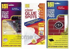 151 ADHESIVE RANGE HOOK or LOOP, EXTERIOR STICKY PADS 80 pk CLEAR GLUE SPOTS