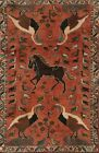 Vintage Pictorial Abadeh Hand-knotted Area Rug Classic Oriental Wool Carpet 4x5