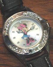 Walt Disney Minnie Mouse (MCK346) Black Leather Band w/ Rhinestone Face Watch!