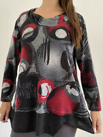 TAKING SHAPE TS Grey Black Red Circle Print Roll Neck Jumper Plus Size S AU 16