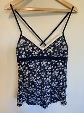 Hollister Navy And White Floral Strappy Top - Large