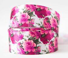 "1x 25mm 1"" Printed Satin Ribbon DIY Craft Decoration Bows - Vintage Pink Flowers"