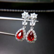 6Ct Pear Cut Red Ruby Simlnt Diamond Halo Floral Dangle earrings Silver Gold Fns