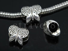 10/40/200pcs Tibetan Silver Bulk Lots big Hole Butterfly  European Charms Beads