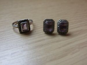 Sterling silver Amethyst & Marcasite stone ring & Earring Set. Size O