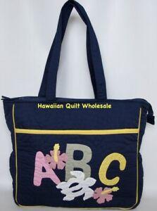Hawaiian quilt hand quilted/appliquéd handmade Diaper Bag Hibiscus Turtle NAVY