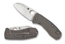 Spyderco Marcin Slysz Techno 2 Folding Stonewashed Plain Blade Titanium C158TIP2