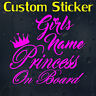 Baby Princess On Board Girl's Custom Decal Vinyl Sticker With Your Text Or Name