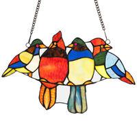 "14.5"" Stained Glass Birds Window Panel Tiffany Style Hanging SunCatcher w/Chain"