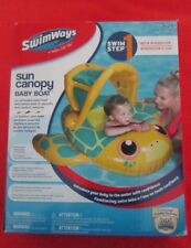 SWIMWAYS SWIM STEP 1 SUN CANOPY BABY BOAT,WATER INTRO, AGES 9-24 MOS,w/50+ UPF