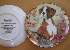 "REDUCED BOXER INQUISITEVE RUTH PARRY 8.2"" PORCELAIN DOG PLATE W.N.MELLOR STUDIO"