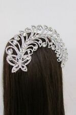 New Women Silver Metal Long Butterfly Leaves Rhinestone Head Fashion Jewelry