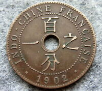 FRENCH INDOCHINA 1902 1 CENTIME, BRONZE