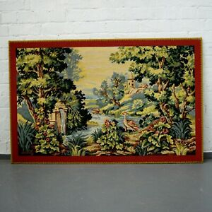 Large Antique Style French Woven Tapestry Scene of Chateau / Tapestry Artwork