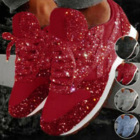 New Women's Sequin Glitter Lace-Up Fashion Shoes Comfort Athletic Sneakers