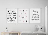 Set of 3 Not All Girls Are Princesses Pink Prints Nursery Kids Room Wall Art