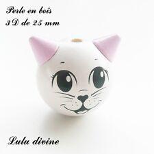 Perle en bois de 25 mm, Perle 3D Tête de chat : Blanc / Rose clair