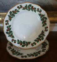 Queens Rosina Yuletide Dinner Plates -- 2 (Scallopped w/ Swirls) 10 5/8""
