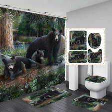 Forest Black Bear Family Bath Mat Toilet Cover Rugs Shower Curtain Bathroom Art