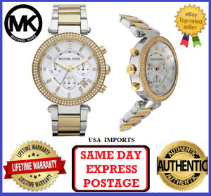 Michael Kors MK5626 Parker Silver, Gold and Crystal Chronograph Womens Watch