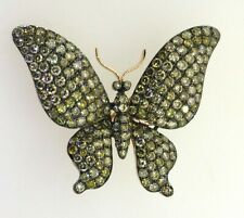 Natural Yellow/Brown diamond cluster butterfly brooch New listing