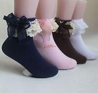 1Pair Girls Kids Children White Navy Blue School Dress Lace trim short Socks