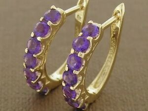 E083- Gorgeous 9ct Solid Gold NATURAL Amethyst HUGGIE Earrings Hoops