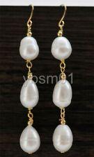 Wholesale 10-12mm Teardrop white Freshwater Pearl Dangle Earring